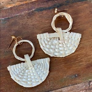 Ivory Straw Fan Earrings